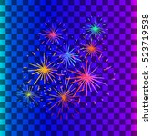 new year holiday fireworks.... | Shutterstock .eps vector #523719538