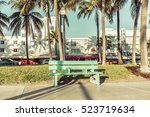 empty bench on miami south...   Shutterstock . vector #523719634