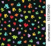 cartoon puzzle. seamless vector ... | Shutterstock .eps vector #523720420