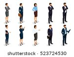 isometric set of men and women... | Shutterstock .eps vector #523724530