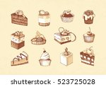 sketches of cupcakes  berry pie ... | Shutterstock .eps vector #523725028