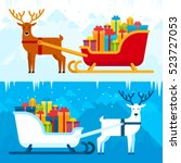 Santa Sleigh With Gifts And...