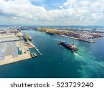 container container ship in... | Shutterstock . vector #523729240