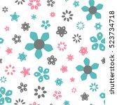 seamless floral pattern with... | Shutterstock .eps vector #523734718