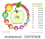 apple vitamins infographic with ... | Shutterstock .eps vector #523737628