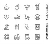 health and wellness icons with... | Shutterstock .eps vector #523738360