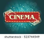 old cinema banner with stripe... | Shutterstock .eps vector #523744549