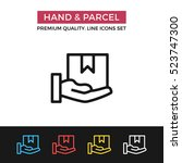 vector hand and parcel icon.... | Shutterstock .eps vector #523747300