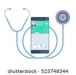 the stethoscope and smart phone ... | Shutterstock .eps vector #523748344