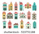 illustrations of old houses.... | Shutterstock .eps vector #523751188