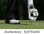 Hand Holding Golf Ball With Te...