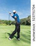 golfer back pain during swing...   Shutterstock . vector #523751704