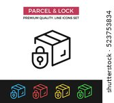 vector parcel and lock icon....