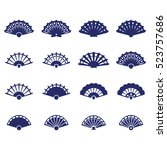 Hand Fan Icon Set. Vector Icon...