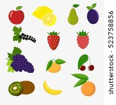 set of colorful cartoon fruit... | Shutterstock .eps vector #523758856