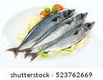 Stock photo fresh mackerel in a plate isolated on white 523762669
