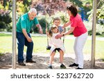 family having fun with kids... | Shutterstock . vector #523762720
