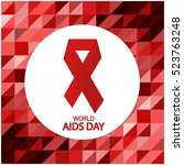 world aids day card or... | Shutterstock .eps vector #523763248