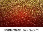 gold glitter sparkles on red...   Shutterstock .eps vector #523763974
