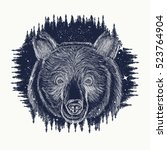 bear tattoo art  symbol travel... | Shutterstock .eps vector #523764904