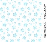 seamless snowflakes pattern and ... | Shutterstock .eps vector #523765639