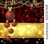 christmas card with christmas... | Shutterstock . vector #523767439