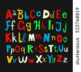 doodle alphabet letters.... | Shutterstock .eps vector #523768819