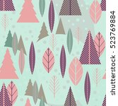 seamless pattern with stylized... | Shutterstock .eps vector #523769884