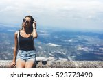 hipster young girl with... | Shutterstock . vector #523773490