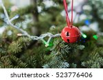 christmas decoration bell on... | Shutterstock . vector #523776406