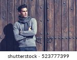 handsome man wearing winter... | Shutterstock . vector #523777399