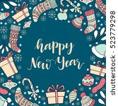 new year greeting card with... | Shutterstock .eps vector #523779298