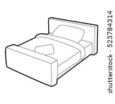 double bed icon. isometric 3d... | Shutterstock .eps vector #523784314