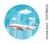 icon airplane on the background ... | Shutterstock .eps vector #523788310