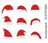christmas hat isolated on white ... | Shutterstock .eps vector #523797880