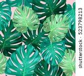 seamless pattern of leaves... | Shutterstock .eps vector #523798213