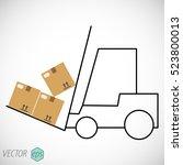 forklift shipping boxes line... | Shutterstock .eps vector #523800013