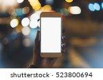 girl pointing on blank screen... | Shutterstock . vector #523800694