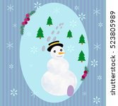 winter card with snowflakes and ... | Shutterstock .eps vector #523805989