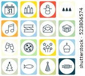 set of 16 new year icons. can... | Shutterstock .eps vector #523806574