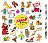 hand drawn xmas stickers...   Shutterstock .eps vector #523808320
