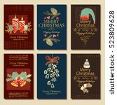vector set. golden christmas... | Shutterstock .eps vector #523809628
