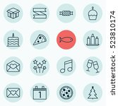 set of 16 new year icons. can... | Shutterstock .eps vector #523810174