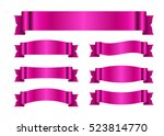 pink ribbons set. satin blank... | Shutterstock .eps vector #523814770