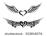 two hearts with wings tribal...