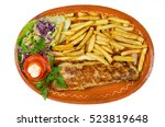 pork stuffed with cheese in a... | Shutterstock . vector #523819648