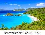 caribbean trunk bay on st john... | Shutterstock . vector #523821163