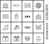 set of 16 celebration icons.... | Shutterstock .eps vector #523821844