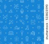 winter sport seamless pattern ... | Shutterstock .eps vector #523823590