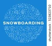 vector snowboarding icon ... | Shutterstock .eps vector #523823710